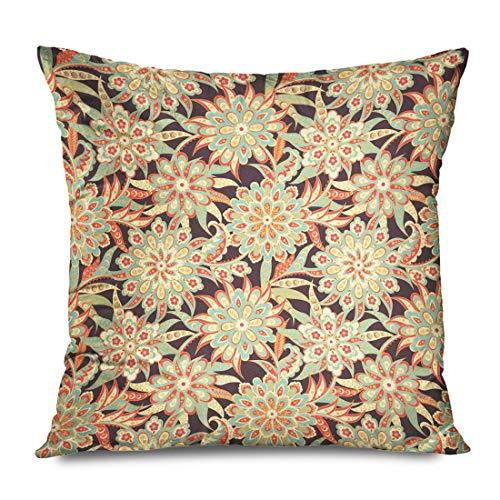 WH-CLA Throw Pillow Covers Adorno Romántico Único Floral Folklórico Retro Damasco Paisley Texturas Ornamentales Vintage Funda De Almohada De Tela Fundas De Almohada Coloridas Cremallera