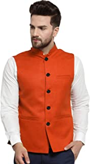 Vastraa Fusion Men Cotton-Blended Export-Quality Indian Traditional Nehru Jacket/Modi Ethnic Waistcoat (Tangy Orange)