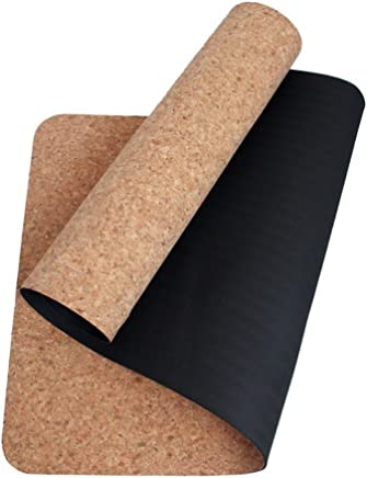 boshiho High Density Eco-Friendly Cork + TPE Exercise Yoga Mat for Pilates, Fitness & Workout with Carrying Strap, No Smell