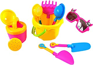 Flameer 9Pcs Sand Beach Toys Bucket Spade Shovel Rake Watering Can Funnel Tools Kits