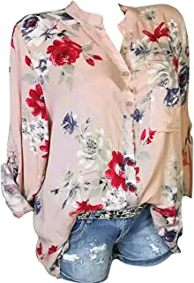 ANJUNIE Women Flower Printing Blouse with Pocket,Long Sleeves Notch Neck Tunic Top Shirt