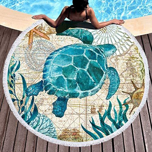 LIUNIAN Mundo Océano Toalla de Playa Toallas de baño Redondas Grandes de Secado rápido con borlas Estera de Yoga Redonda Manta de Playa para niños, niñas y niños, 150 CM x 150 CM