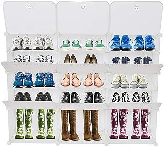Meuble De Rangement Modulable, 9 Compartiments, Étagère En Plastique, Avec Portes, Pour Vêtements, Chaussures, Jouets, Liv...