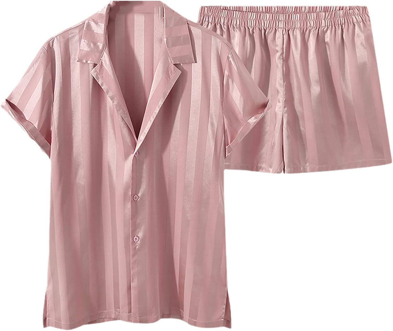 Fashion Men Pink Striped Sets Shiny Short Sleeve Shirt Elastic Waist Shorts 2 Pieces Streetwear Men Casual Suits