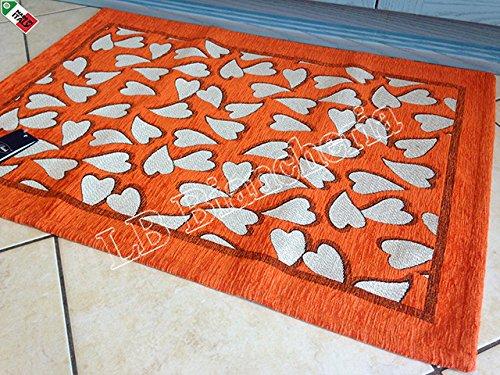 By Suardi - Alfombra decorativa de cocina con corazones Sweet Shabby Chic moderna de chenilla 55 x 240 cm, fabricada en Italia, naranja