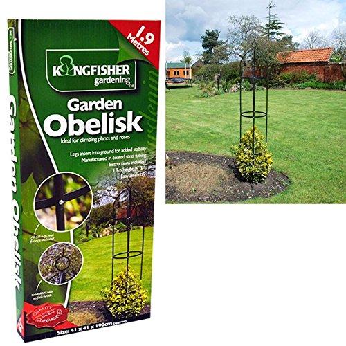 1.9m Black Powder Coated Metal Garden Obelisk Free Standing Climbing Plant Support Frame Outdoor Trellis