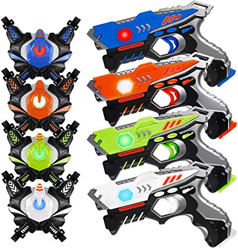 HISTOYE Laser Tag Guns Sets of 4 Players Game Laser Tag Sets with Gun and Vest Indoor Outdoor Toy Gun Battle for Boys Toys Age 4 5 6 7 8 9 10+ Gifts for 12 Year Old Boy
