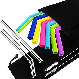 """YuCool 8 Pajitas de Silicona y 4 Pajitas de Acero Inoxidable para Vaso YetiRtic, 30 20 oz, Pajitas Extra largas Reutilizables con cepillos y Bolsas de Almacenamiento, Longitud 9,6"""", 10,5"""" - 6 Colores"""