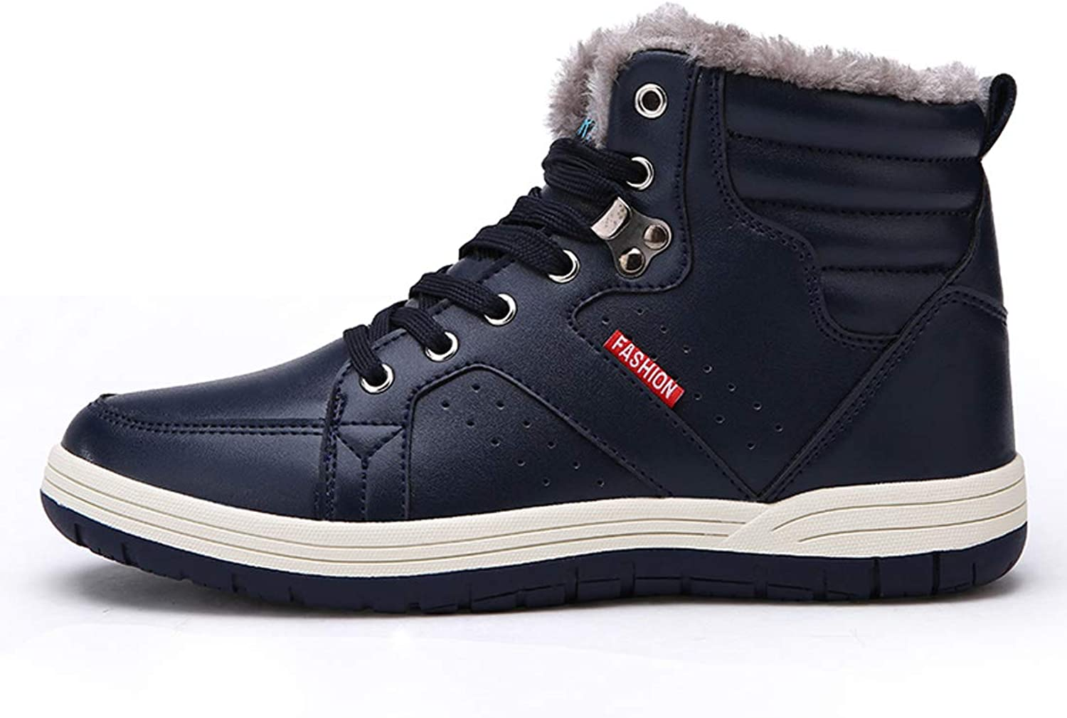 Ceyue Mens Leather Snow Boots Lace up Ankle Sneakers High Top Winter shoes with Fur Lining