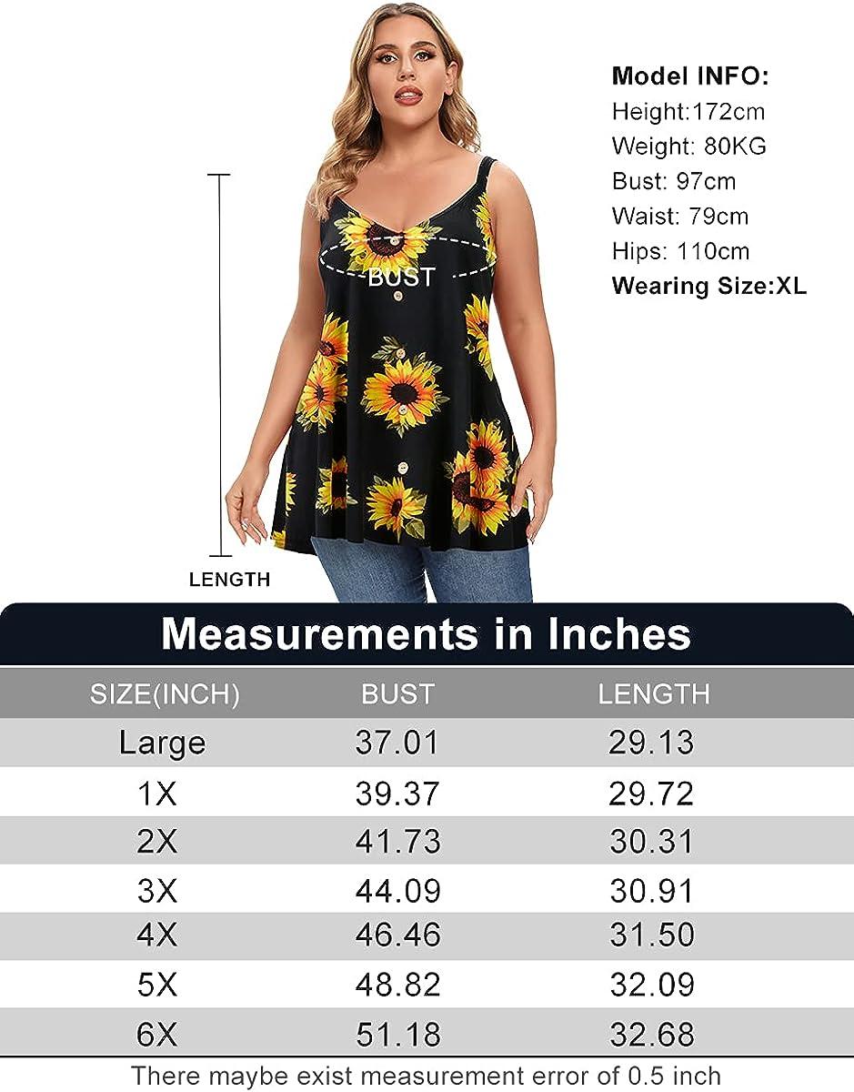 MONNURO Plus Size Camisole V Neck Button Cami Tank Tops Women's Sleeveless T-Shirt Tunics