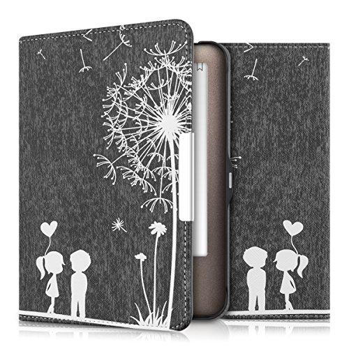 kwmobile Hülle kompatibel mit Tolino Shine - Kunstleder eReader Schutzhülle Cover Case - Pusteblume Love Weiß Schwarz