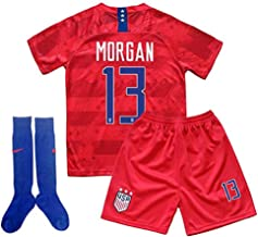 SUNOLG Morgan 13 Alex Home Soccer Shirt for Youth and Kids with Shorts and Socks 3PCS White