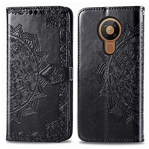 Bear Village Hülle für Nokia 5.3, PU Lederhülle Handyhülle für Nokia 5.3, Brieftasche Kratzfestes Magnet Handytasche mit Kartenfach, Schwarz