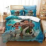 XWXBB Moana - Juego de ropa de cama infantil, material de 3 piezas de fibra de poliéster, suave y cómodo, universal, para cualquier época del año, tamaño completo (N03, 150 x 200 cm)