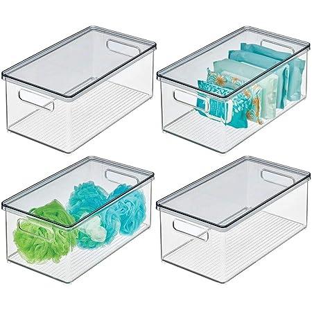 stapelbare Kunststoffbox zur Aufbewahrung von Kosmetik und Make-up 2er-Set durchsichtig praktische Kosmetikaufbewahrung aus Kunststoff mit Klappdeckel mDesign Kosmetik Organizer
