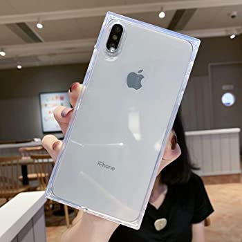 Facweek iPhone Xs Max Case Square, Clear Xmax Transparent Cases Reinforced Corners Soft TPU Cushion Ultra-Thin Slim Cover Silicone Shell-Clear