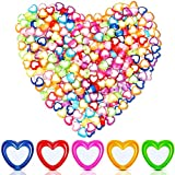 400 Pieces Heart Shape Acrylic Beads Mixed Color Heart Pony Beads Plastic Loose Beads DIY Jewelry Making Necklace Bracelet Crafting Supplies, 7 x 4 mm