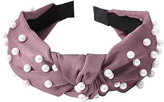 Bodhi2000 - Fascia per capelli larga con nodo a turbante, stile vintage, con perle sintetiche, accessorio per capelli alla...