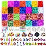 Bst4UDirect DIY Gomas Loom Bandas Conjunto, 10000 Bandas de Goma con 28 Colores, 680 Accesorios de Goma Arcoíris para Tejer Artesanías de Bricolaje para Niños en Cajas de Almacenamiento