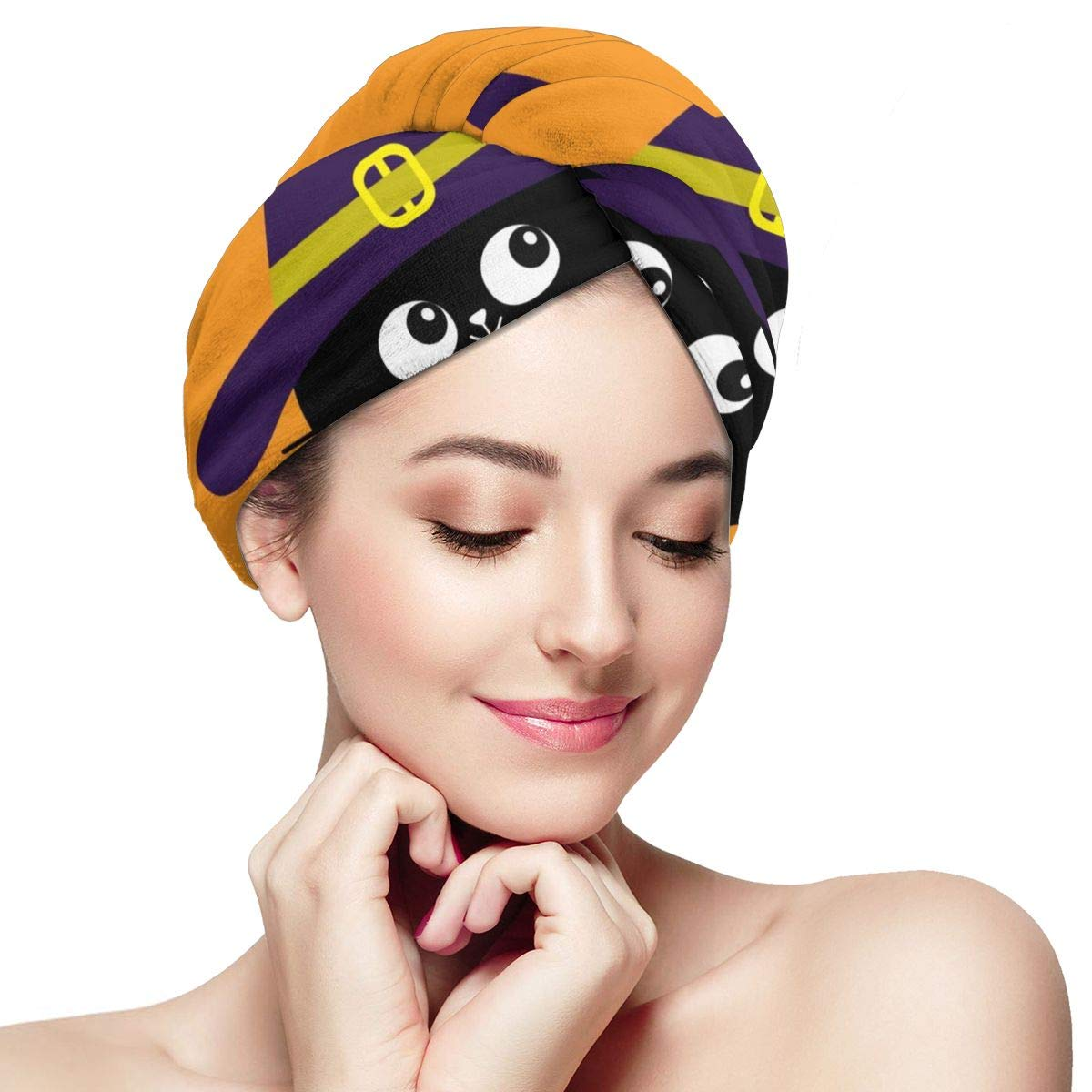 Microfiber Hair Towel Wraps For Black Max 88% OFF Women Happy Super sale period limited Cat Halloween