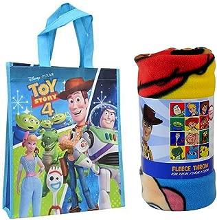 Disney / Northwest Toy Story Fleece Throw Blanket & Reusable Travel Tote Bag - 2 pc Set (Travel Tote)