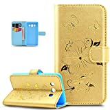 Galaxy J52016mvil, Galaxy J52016funda, Galaxy J52016funda de piel, ikasus Goldene Glitter relieve Embossing Mariposas Flores Butterfly Floral Series Book Type Slim Fit Soft Silicona cierre mag