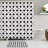MTevocon Duschvorhang Sets mit rutschfesten Teppichen,Mid Century Retro Styled Atomic Composition mit Vintage Diamond Line Pattern, Badematte + Duschvorhang mit 12 Haken