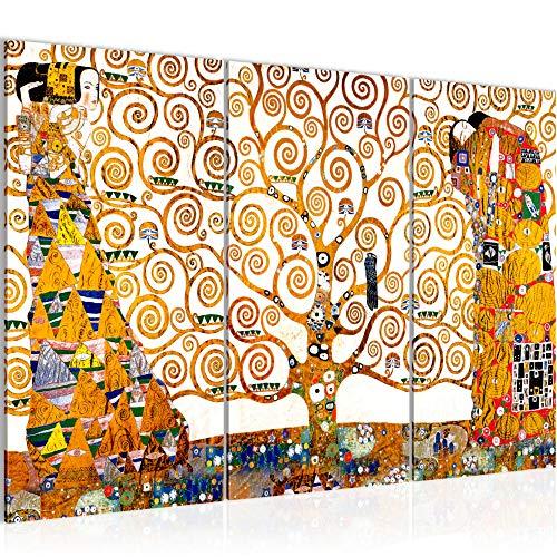 Bilder Gustav Klimt - Tree of Life Wandbild 120 x 80 cm Vlies - Leinwand Bild XXL Format Wandbilder Wohnzimmer Wohnung Deko Kunstdrucke Gelb 3 Teilig - Fertig zum Aufhängen 700031a