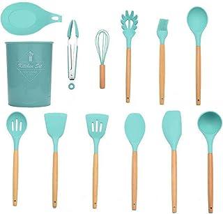 Docooler 12PCS Cooking Utensils Kitchen Utensil Set Silicone Kitchenware Set Wooden Handle Cookware Set Chef Nonstick Cook...