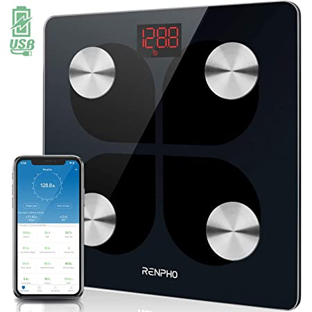 RENPHO Rechargeable Smart Scale Digital Weight and Body Fat USB Weight BMI Scale, Body Composition Monitor with Smartphone App sync with Bluetooth, 396 lbs