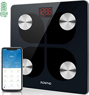 رینفو بلوتوث هوشمند بدن هوشمند مقیاس وزن قابل حمل دیجیتال وزن قابل شارژ دیجیتال وزن بدن مانیتور بدن با نرم افزار Smatrphone، 396 پوند