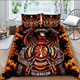 Personalized Quilt Bedding Set - Heroes are Courage Sacrifice Honor Firefighter with 2 Pillow Cover - 1 Quilt, Size Lap - Throw - Twin - Queen - King
