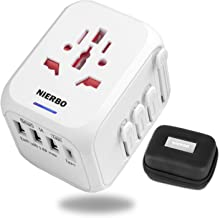 NIERBO Travel Adapter, Universal Power Adapter with Auto-Resetting Fuse,European Adapter All in One International Electrical AC Plug Adapter Worldwide Travel Charger with 3 USB & 1 Type C (White)