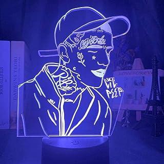 Lámpara 3D Lil Peep Figura Luz de noche para decoración de dormitorio 7 colores Cambio de luz Regalo para fanáticos Luz de noche de celebridades
