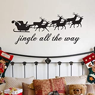 MoharWall Christmas Wall Decal Santa Claus Elk Stickers Painting Living Room Winter Vinyl Art Quotes Decoration Jingle All The Way