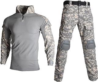 Lilychan Tactical Military Suits voor heren met lange mouwen, ripstop-uniformen, combat shirt en broek, Elbow kniepads