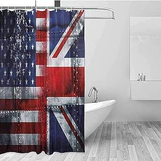 GloriaJohnson Union Jack Geometric Shower Curtain Alliance UK and USA for Kids Bathroom Guest Bathroom W78 x L72 Inch