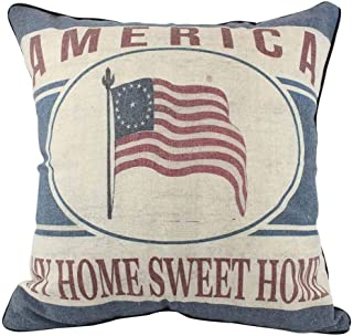 JuniperLab Vintage French Country Holiday Cotton Linen Throw Pillow cases American Flag 16'' Square