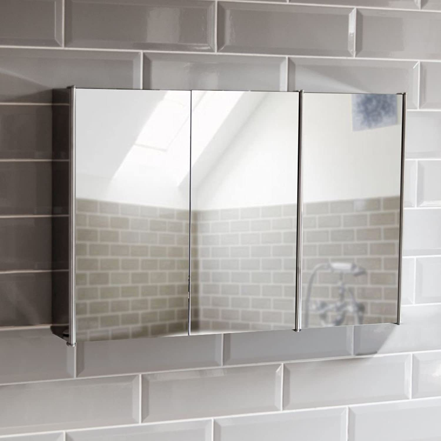 Home Tiano Bathroom Cabinet Triple Mirror Wall Mounted Stainless Steel Modern Storage Cupboard