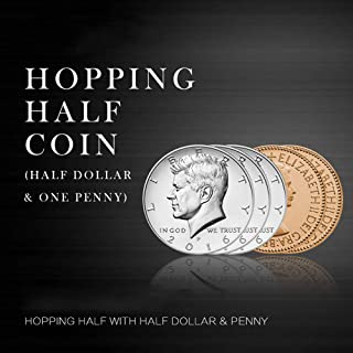 Hopping Half with Expanded Shell Coins & English Penny Magic Coin Trick Magic Coin Gimmicks Magician Accessories