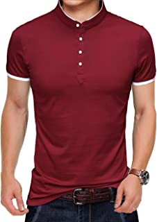 Mens Summer Slim Fit Pure Color Short Sleeve Polo Casual...