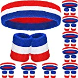 30 Pieces Striped Sweatbands Set, Includes 10 Pieces Sports Headband and 20 Pieces Wristbands Sweatbands Colorful Cotton Striped Sweatband Set for Men and Women(Red White and Blue Set 10, 30 Pieces