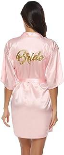 Abollria Robes de Chambre et Kimonos Robes de Mariée Femme Peignoir Satin Robes de Chambre Couleur Pure Vêtement de Nuit S...