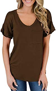 Simayixx Women's Short Sleeve V-Neck Shirts Casual Tunic Tops Loose Solid Blouse Basic Tee T-Shirt with Pocket