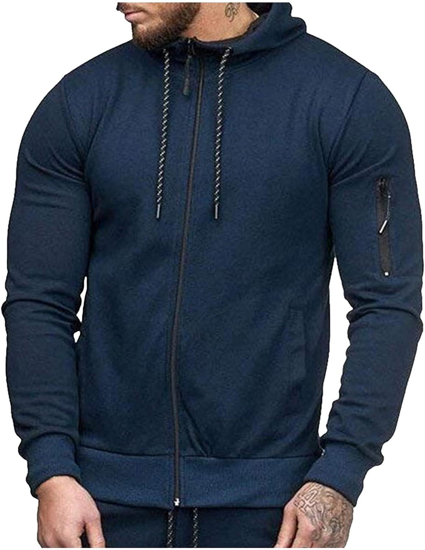 XXBR Hoodies for Mens, Fall Fashion Zipper Solid Color Drawstring Hooded Sweatshirts Slim Fit Athletic Casual Jacket
