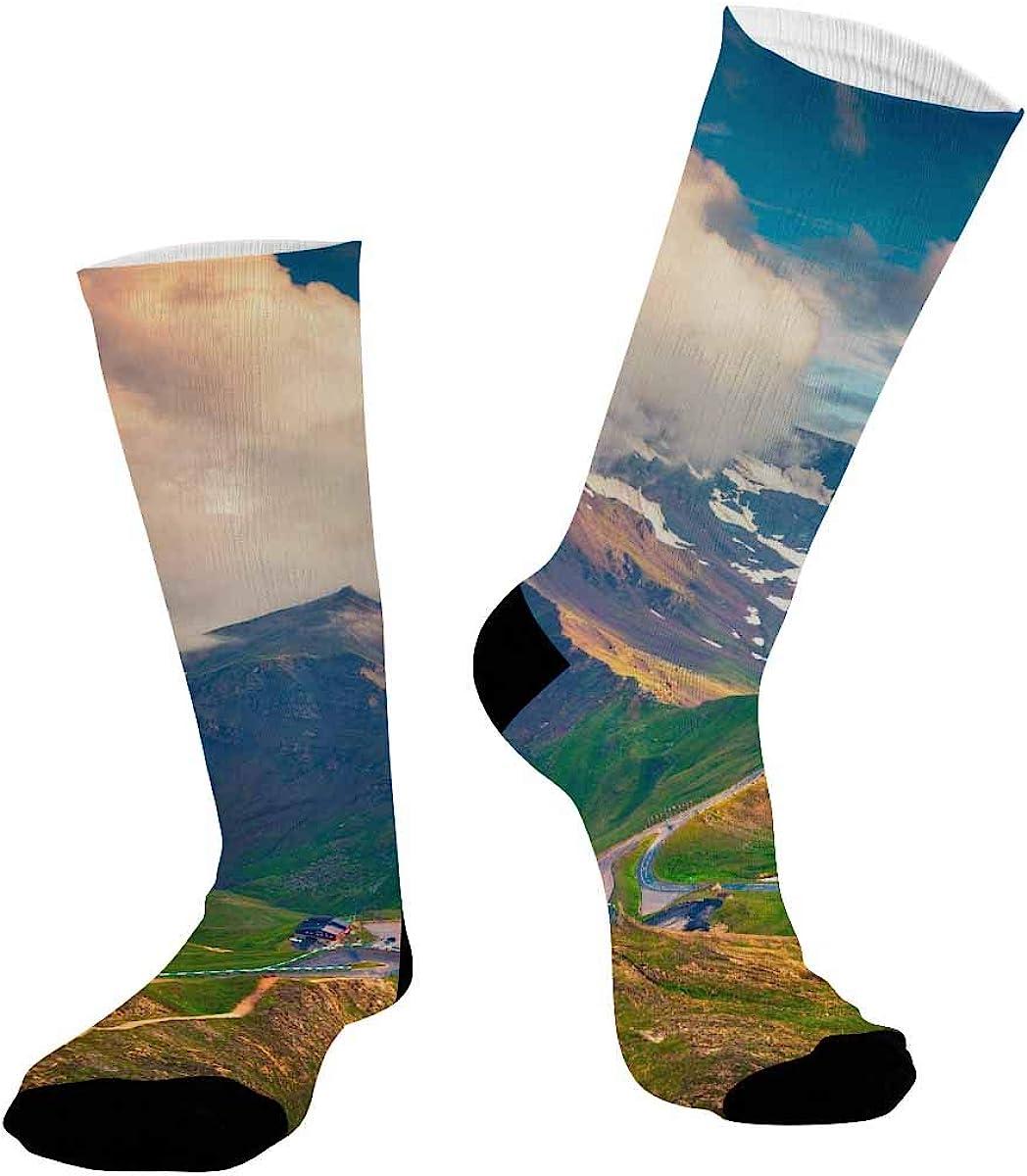INTERESTPRINT Athletic Socks, Unisex Sublimated Crew Socks Grossglockner High Alpine Road