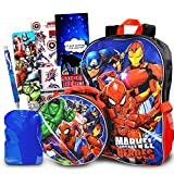Marvel Avengers Backpack for Boys, Girls, Kids - 7 Pc Bundle With 16' Marvel Superhero School Bag, Avengers Lunch Bag, Water Pouch, Stickers, And More (Avengers School Supplies)