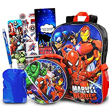 Marvel Avengers Backpack for Boys Girls Kids - 7 Pc Bundle With 16  Marvel Superhero School Bag Avengers Lunch Bag Water Pouch Stickers And More  Avengers School Supplies