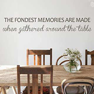 MairGwall Family Vinyl Wall Decal - Fondest Memories Are Made When Gathered Around The Table Kitchen Wall Quote Home Wall Decal (Black, 8
