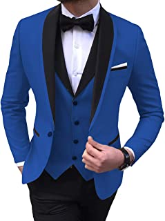 Aesido Men's Suit Formal 3 Pieces Slim Fit Shawl Lapel Solid Prom Tuxedos Wedding Groomsmen (Blazer+Vest+Pants) 2019